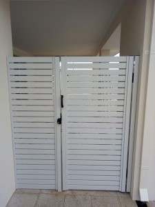 ALUMINIUM SLAT GATE- WHITE WITH RETURN PANEL